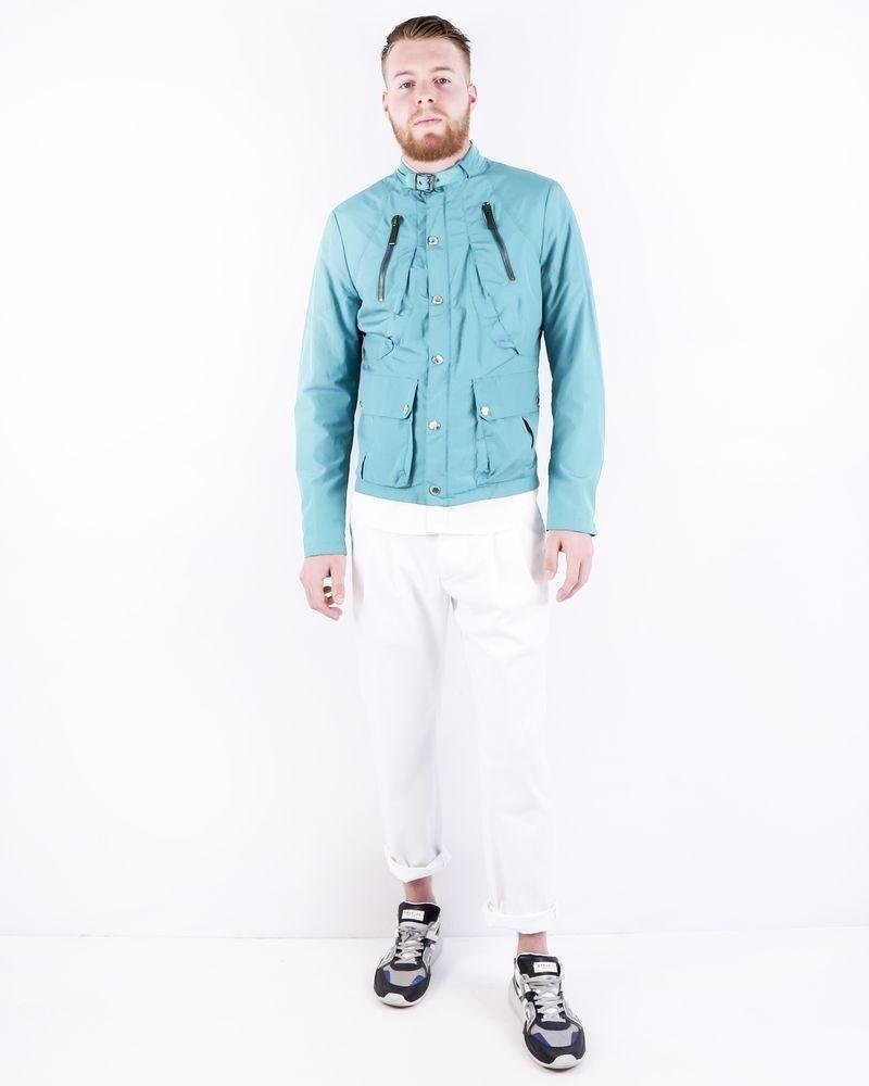 Blouson en nylon vert à poches cargos Roberto Cavalli