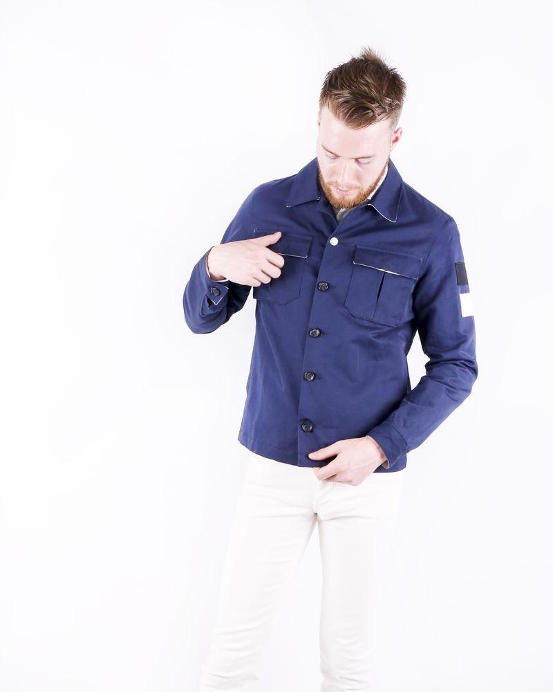 Veste officier bleu à poches cargos Low Brand