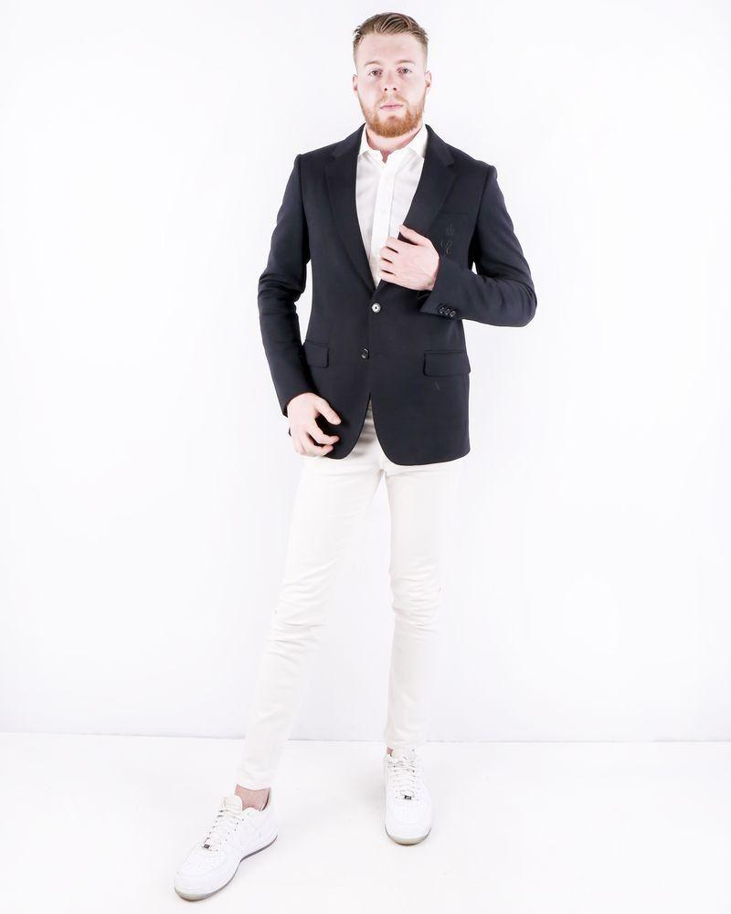 Veste en laine et soie noir à logo brodé Dolce & Gabbana