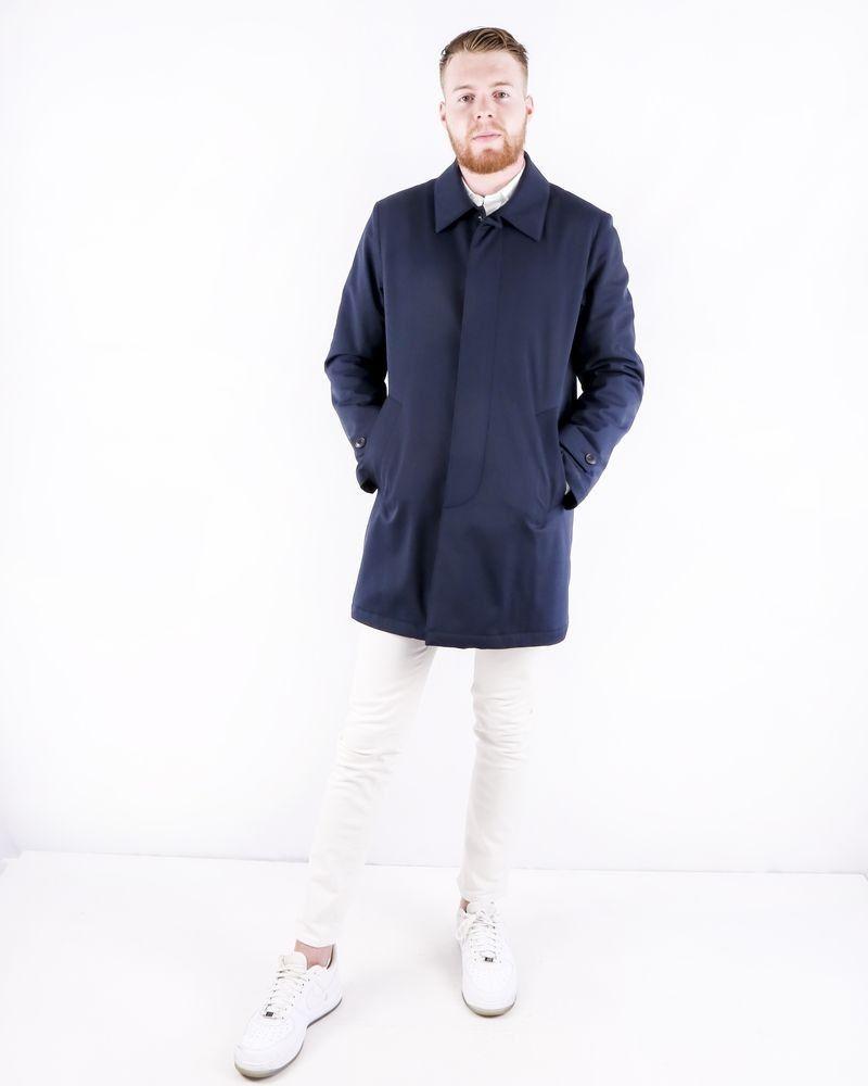 Parka longue en laine bleu Manzoni