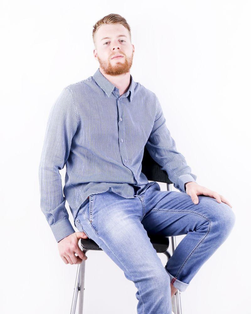 Chemise en coton bleu à petit carreaux Edition M.R