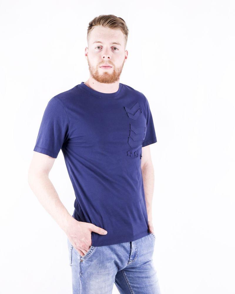 T-Shirt bleu à broderie insigne Balmain
