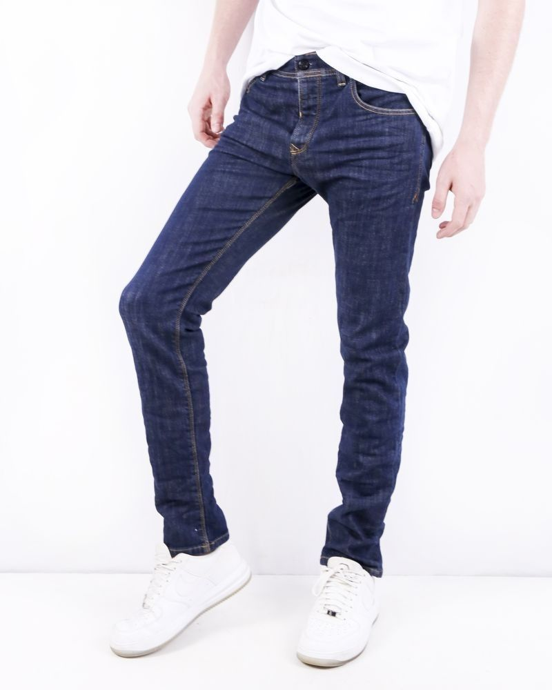 Jean regular en coton bleu brut délavé 3D