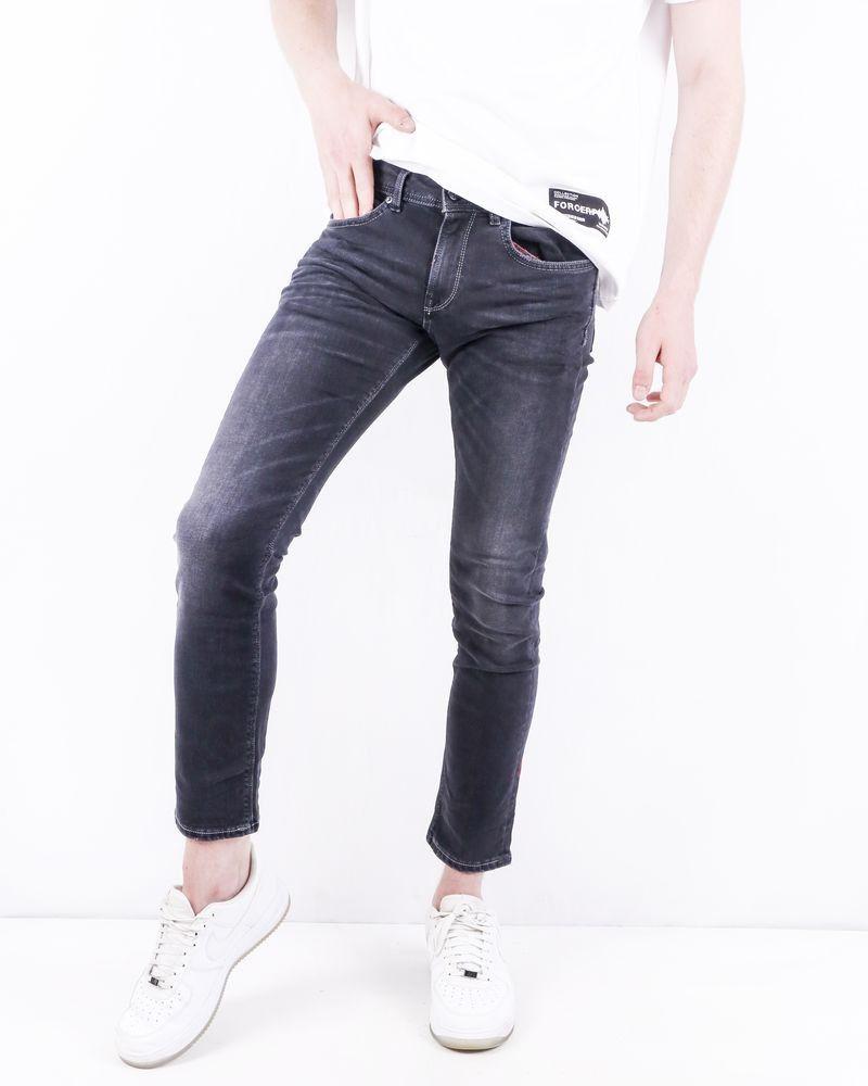 Jean slim en coton noir délavé 3D
