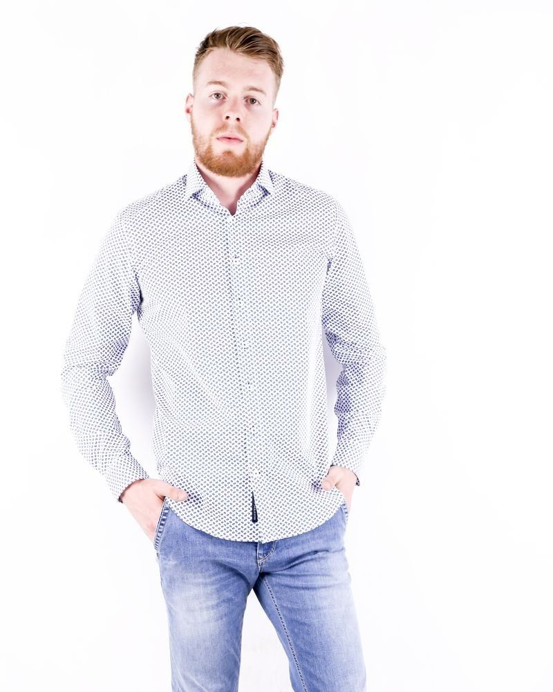Chemise cintrée blanche à imprimé fantaisie Blue Industry