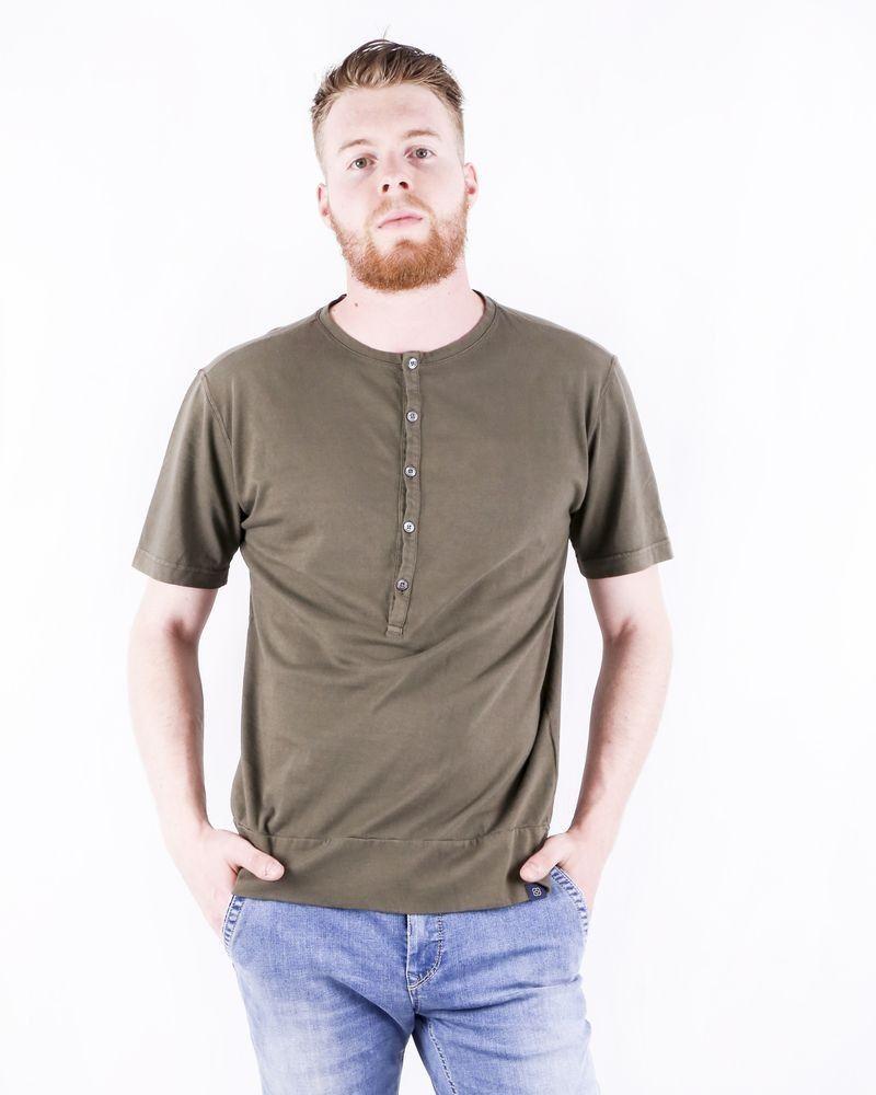 T shirt en coton kaki à col tunisien Lardini