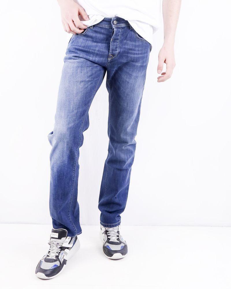 Jean regular en coton bleu délavé 3D