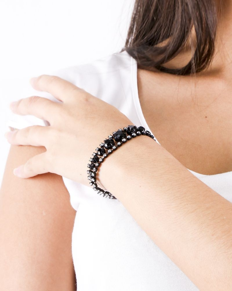 Bracelet à pierre noir et argent Helene Zubeldia