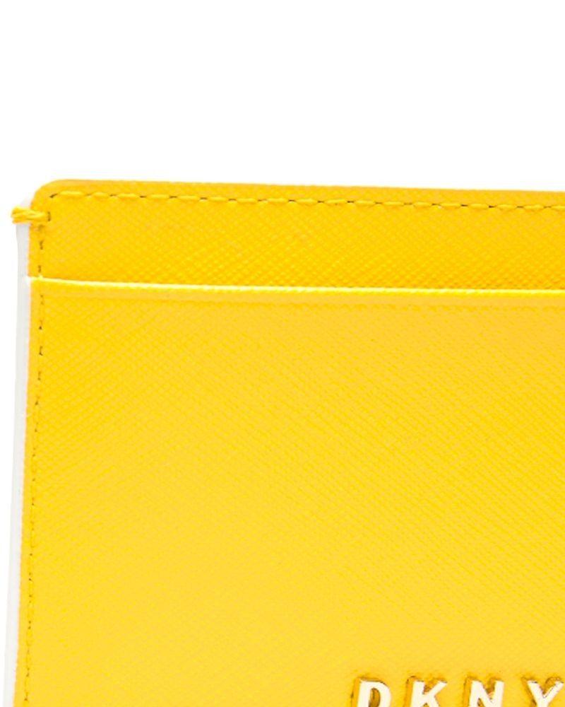 Porte carte en cuir irisé jaune DKNY