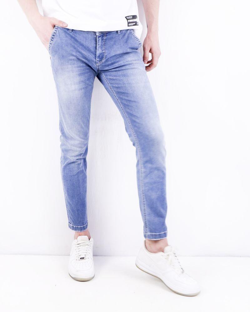 Jean skinny en coton bleu