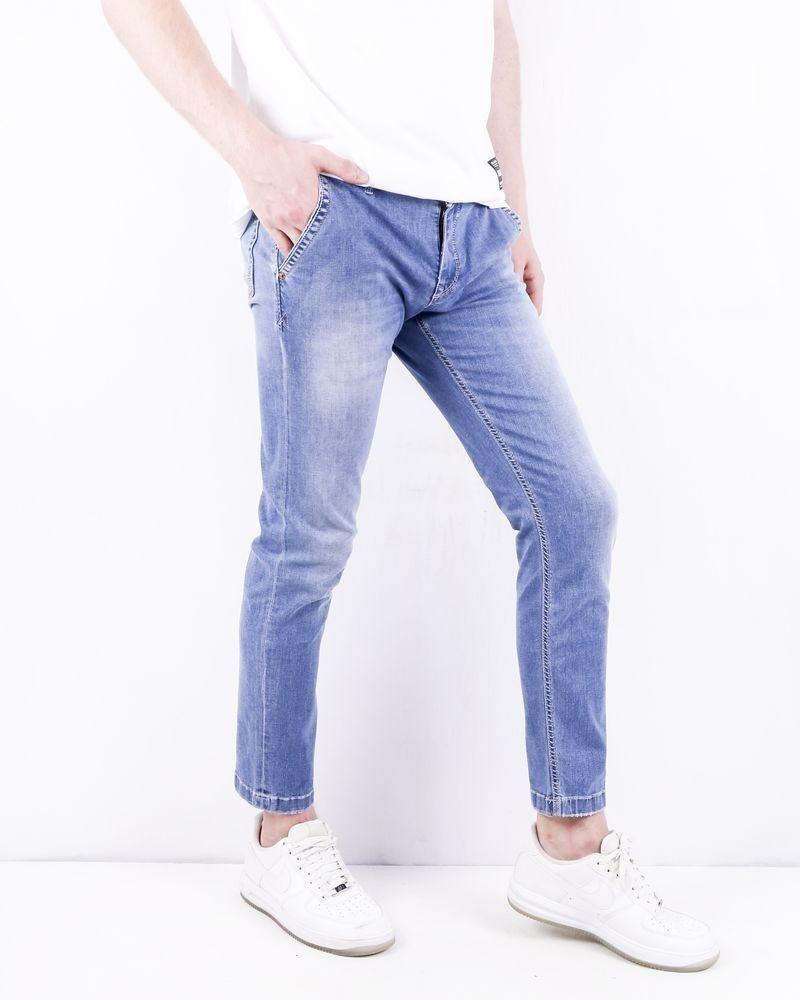 Jean regular en coton bleu