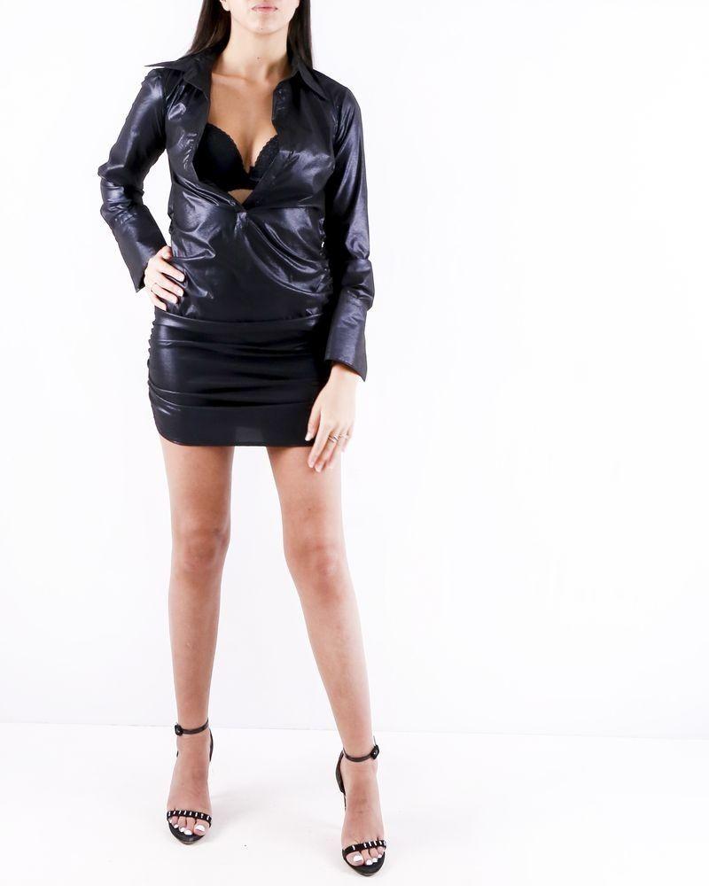 Robe chemise noir à détails froncé Sara Roka