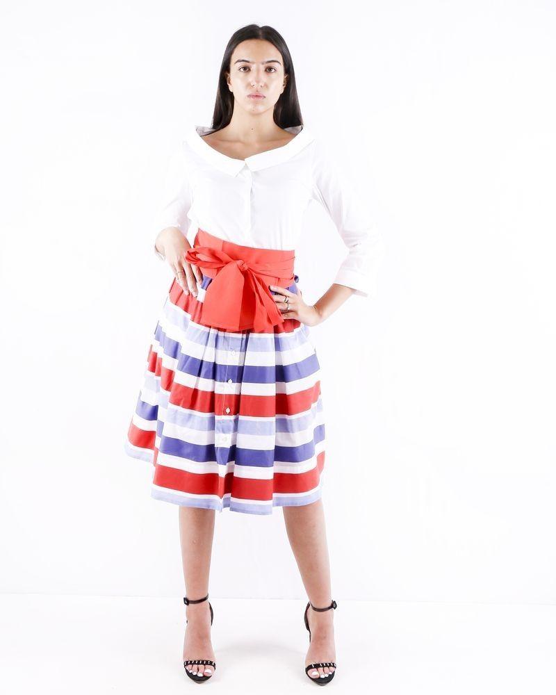 Robe chemise blanche et imprimée à détails plissés Sara Roka