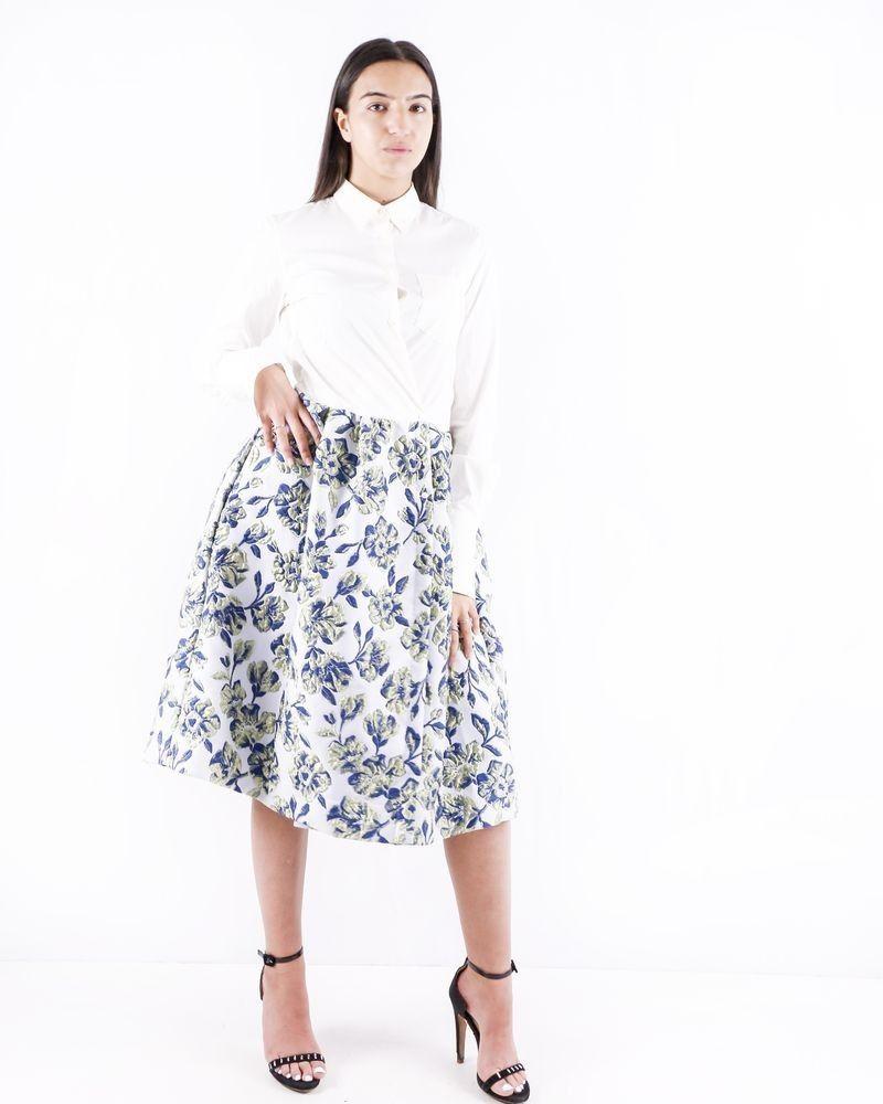 Robe chemise blanche en coton et brocart imprimée à détails plissés Sara Roka