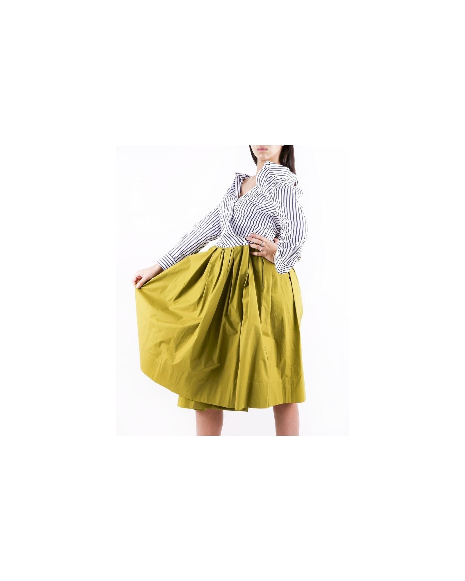 Robe chemise blanche et kaki à détails plissés Sara Roka