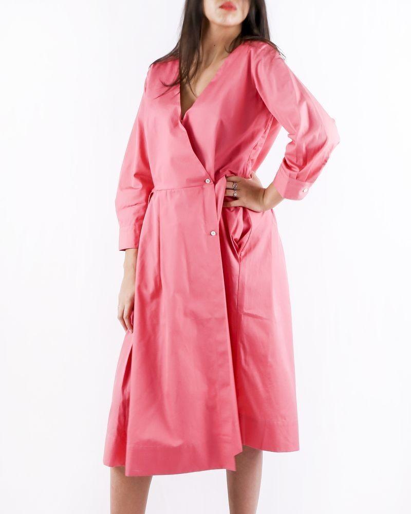 Robe chemise rose à détails plissés Sara Roka