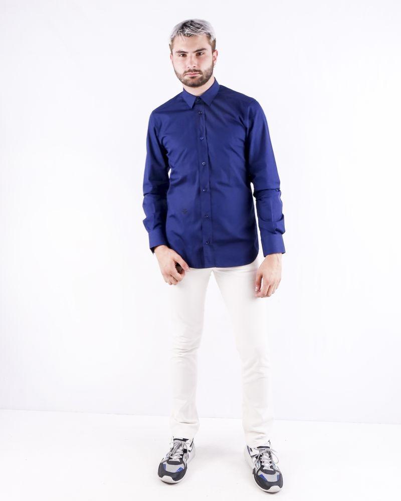 Chemise en coton bleu à broderie abeille Dior