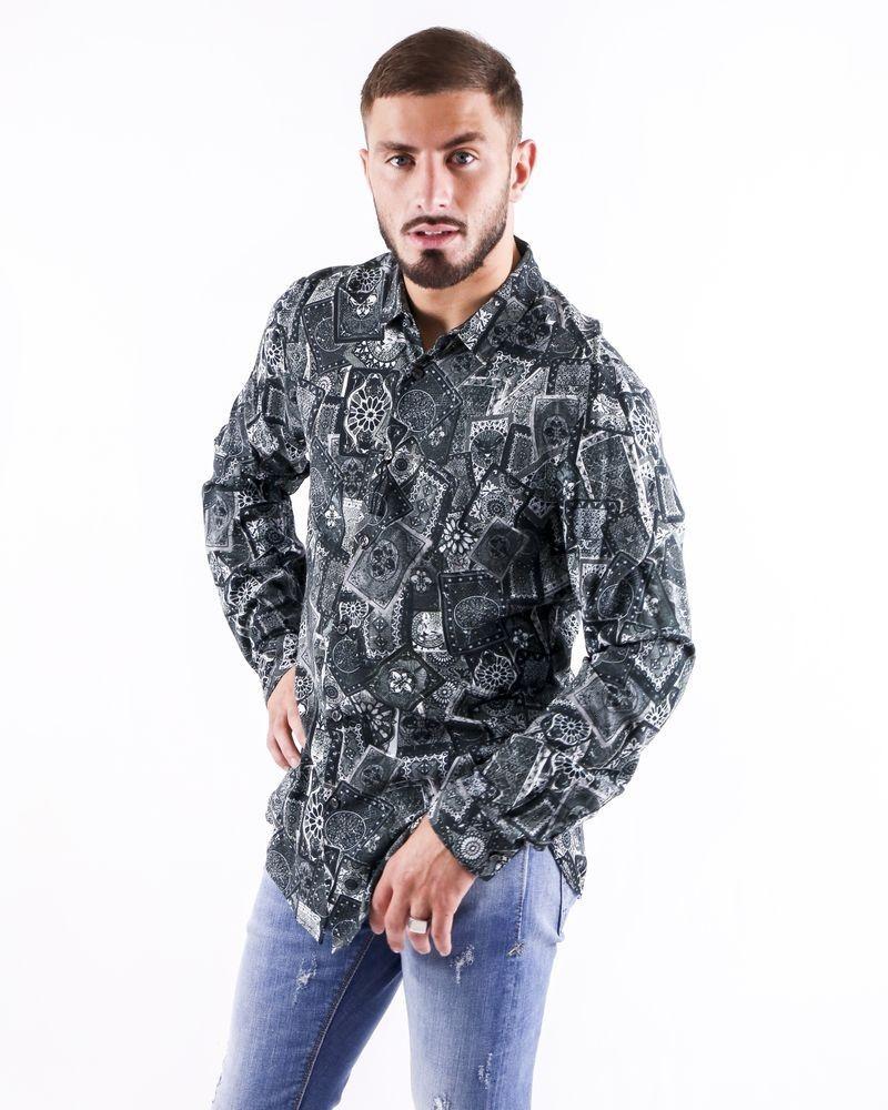 Chemise en coton noir à imprimé fantaisie Roberto Cavalli