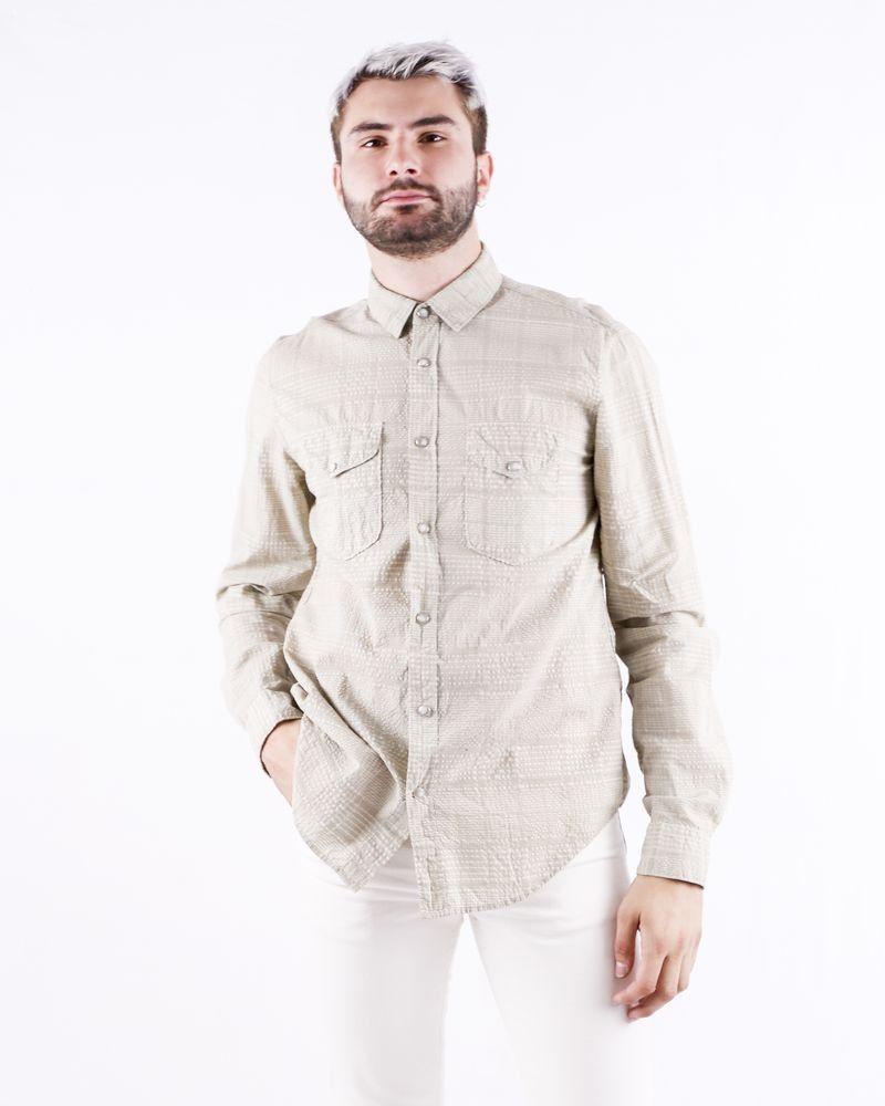 Chemise en coton beige à carreaux Roberto Cavalli