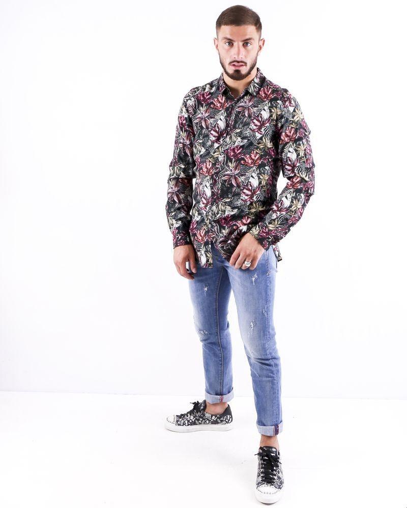 Chemise en coton noir à imprimé floral Roberto Cavalli