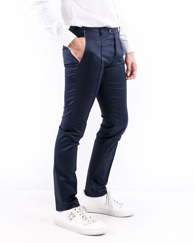 Pantalon slim fit en coton bleu à poches passepoilées Ly Adams