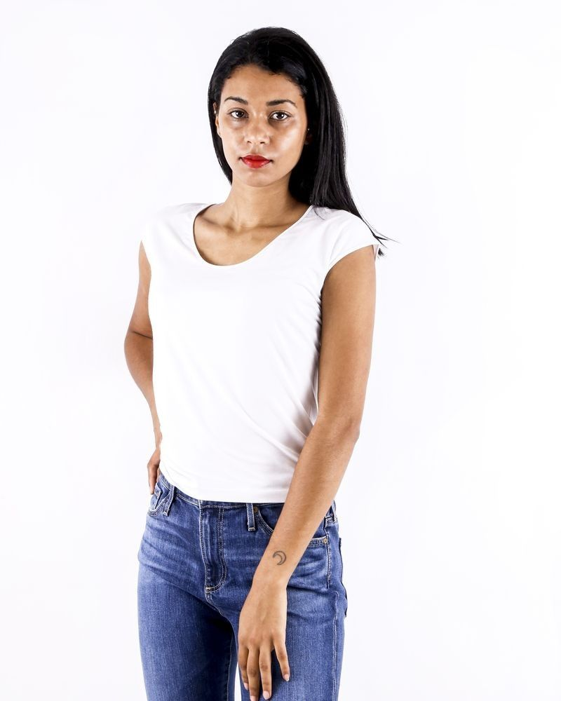 T-shirt en soie blanc Calvin Klein