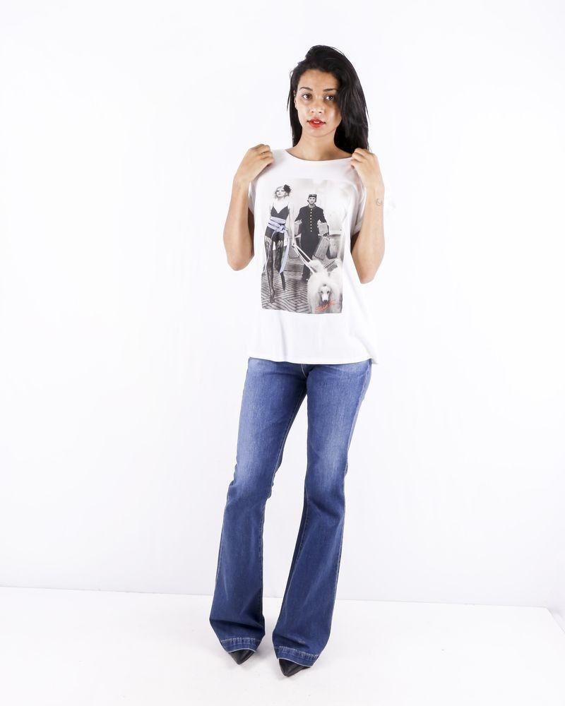T shirt en coton blanc à photo fantaisie Elisabetta Franchi