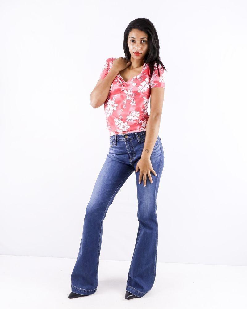 T shirt en coton rose à motif fleuri Blumarine
