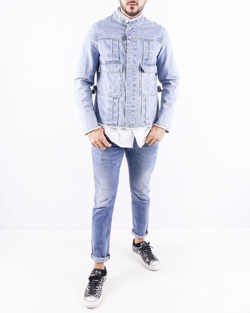 Veste en jean bleu à col mao Ly Adams