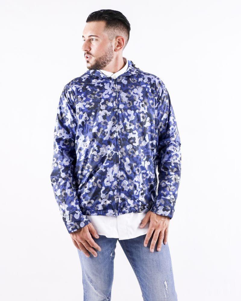 Blouson imperméable bleu à motif camouflage Geym