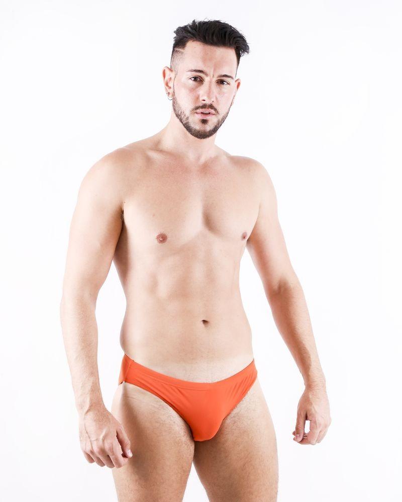 Slip de bain orange à logo brodé Robinson Les Bains