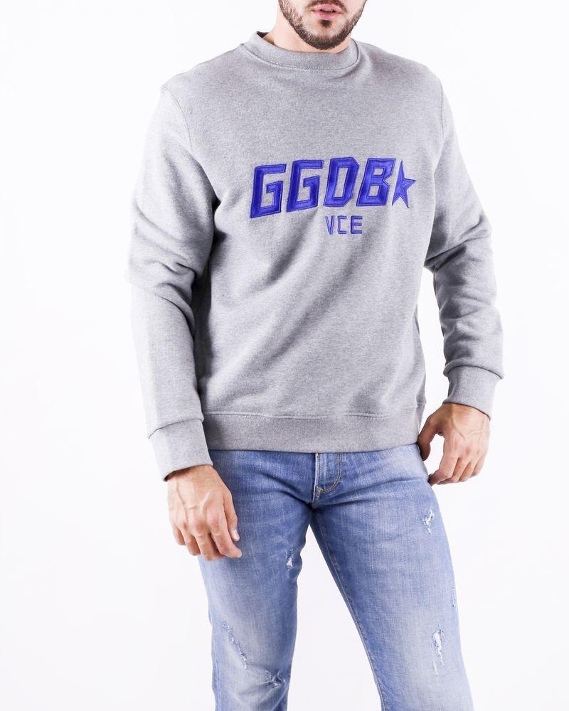 Sweat gris chiné à logo brodé Golden Goose
