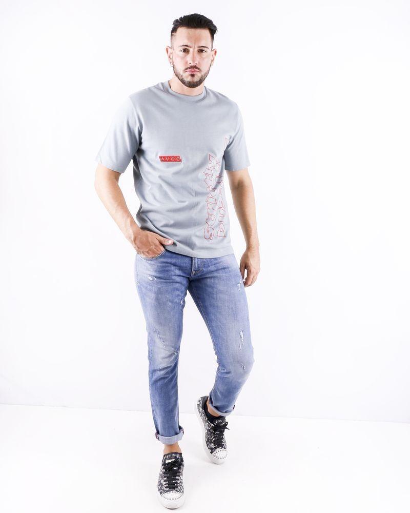T shirt en coton gris à flocage fantaisie Avoc