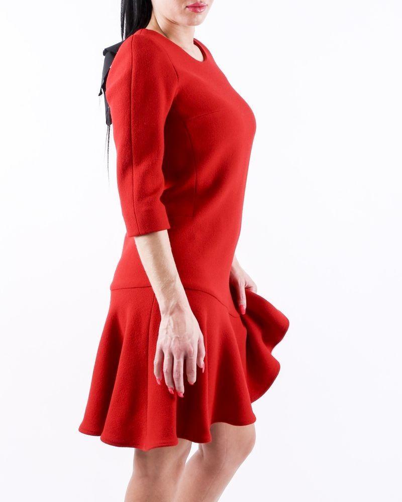 Robe volanté en laine rouge Edward Achour