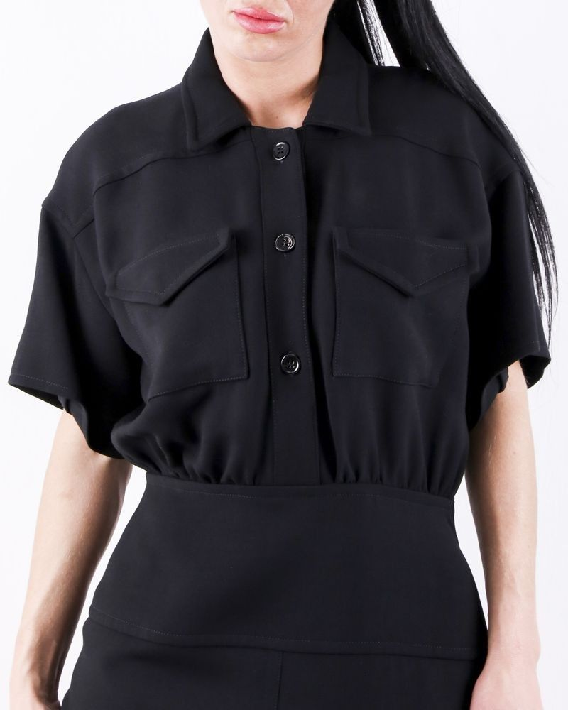 Robe tailleur en laine noir à poche cargo Courrège