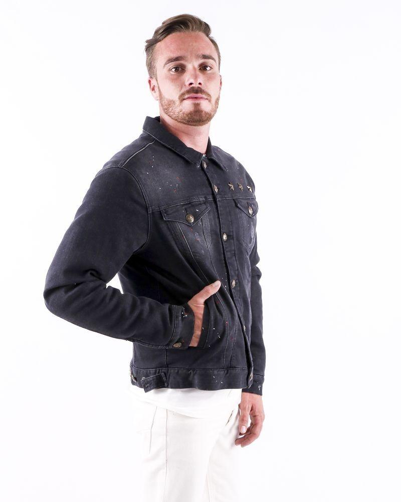Veste en jean matelassé noir à taches fantaisies Lords & Fools