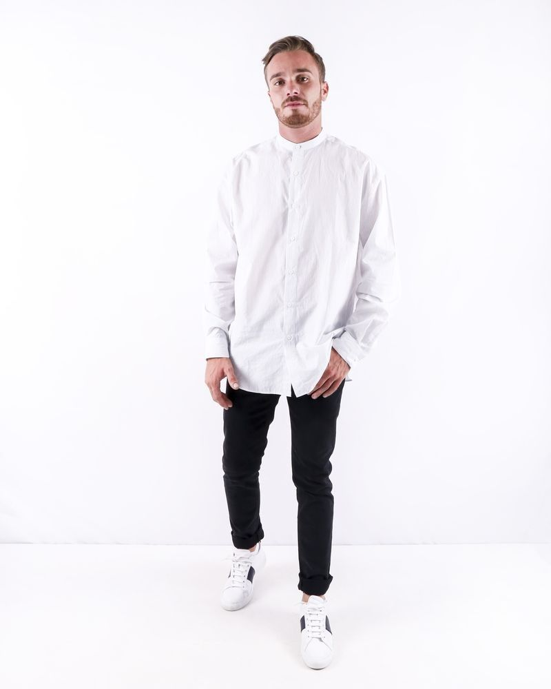 Chemise blanche rayée à col mao Edition M.R