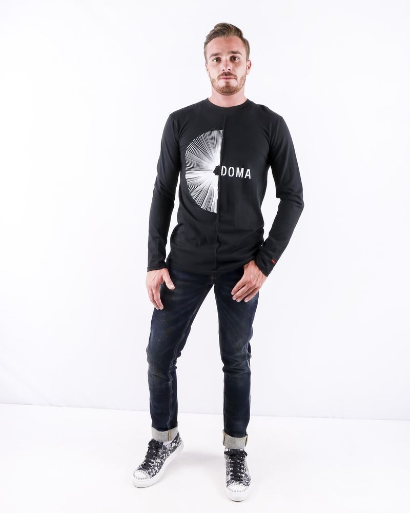 T shirt asymétrique noir à logo Damir Doma