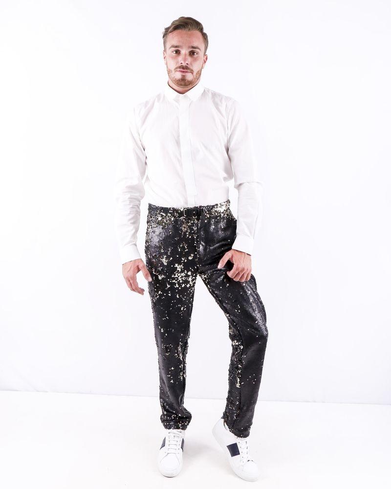 Pantalon slim noir à sequins réversibles White Sand