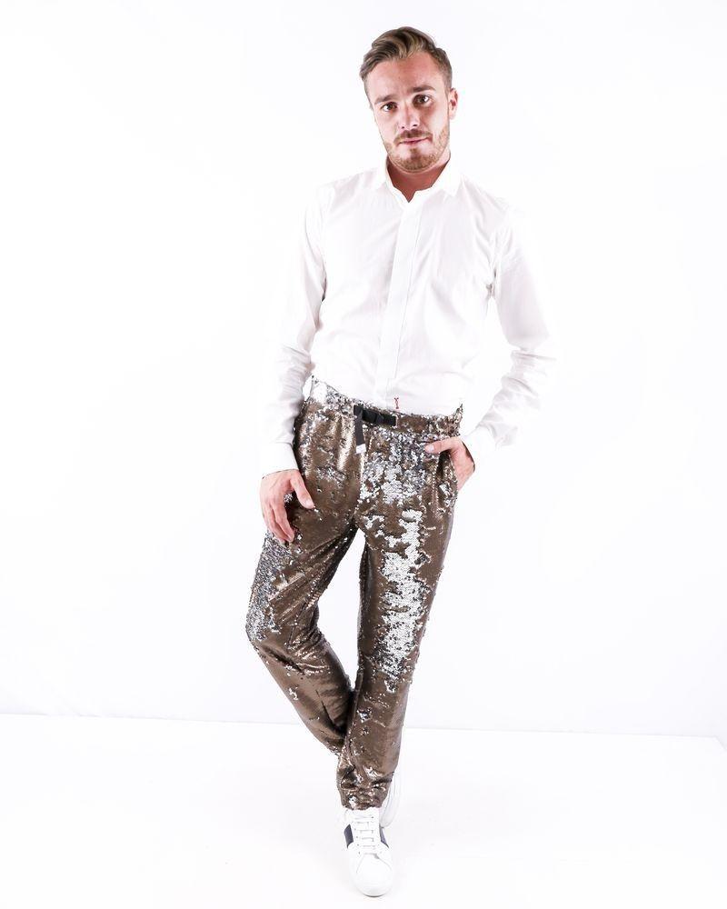 Pantalon slim doré à sequins réversibles White Sand