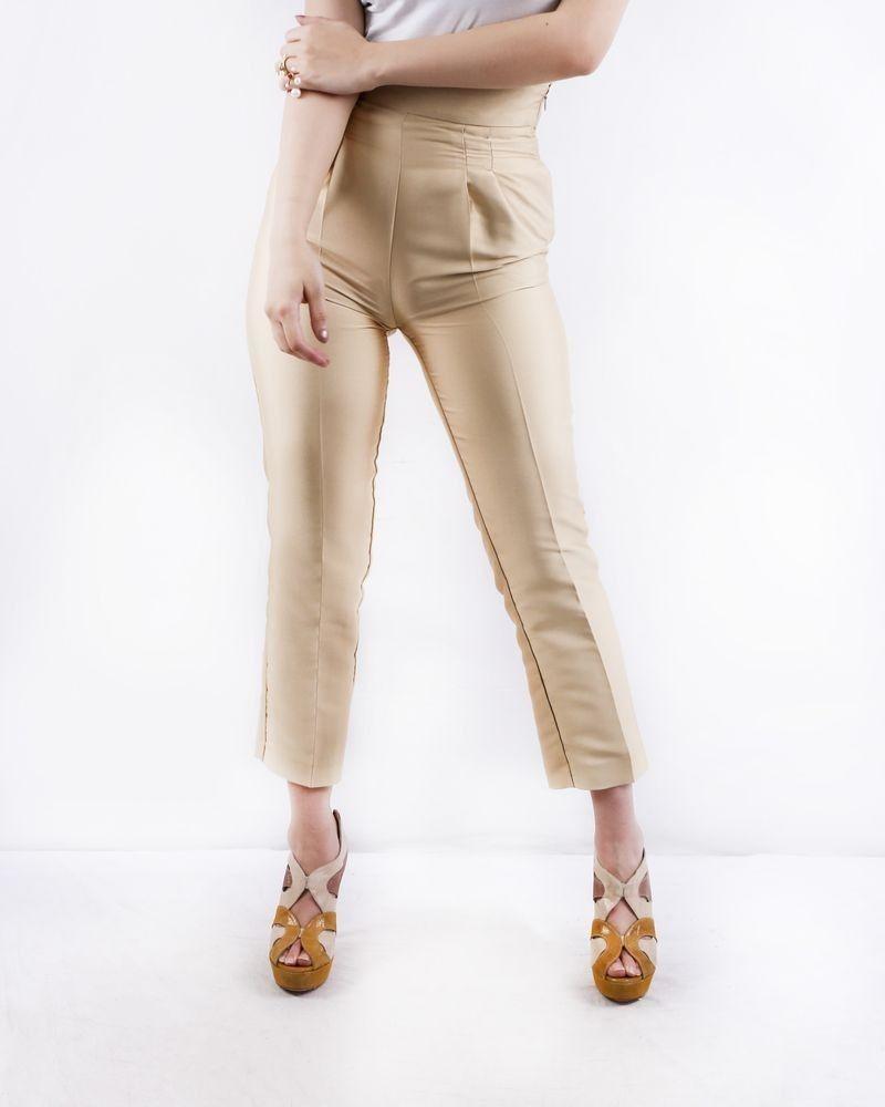 Pantalon taille haute en satin duchesse doré Space Simona Corsellini