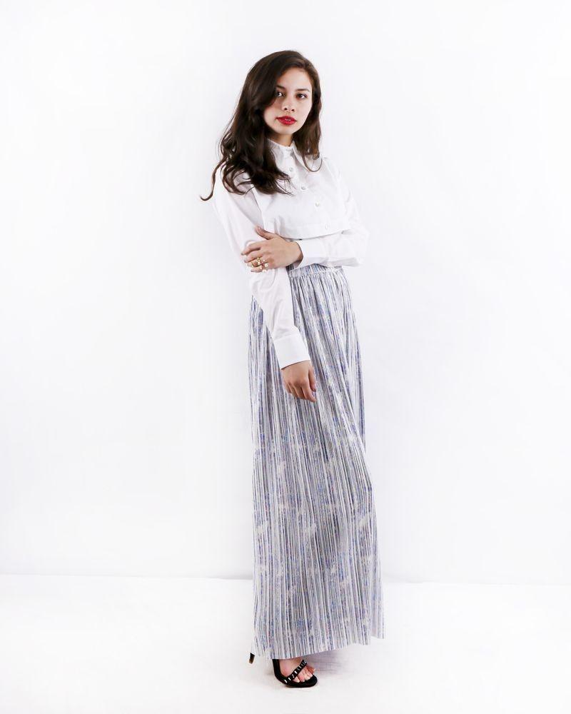 Jupe longue blanche plissée à rayures métallisées Jijil
