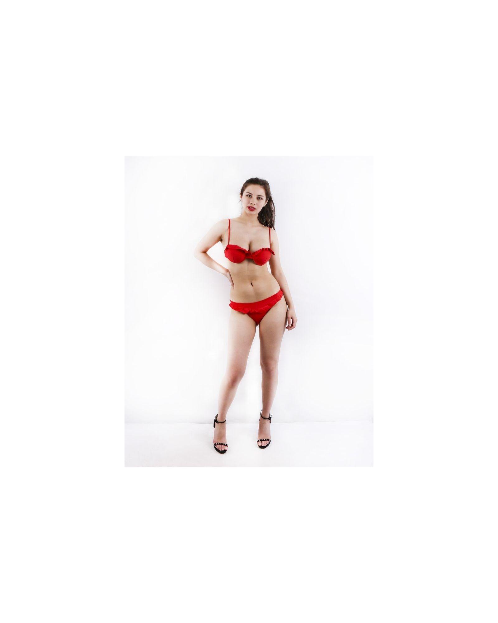 Maillot de bain 2 pièces rouge Lim