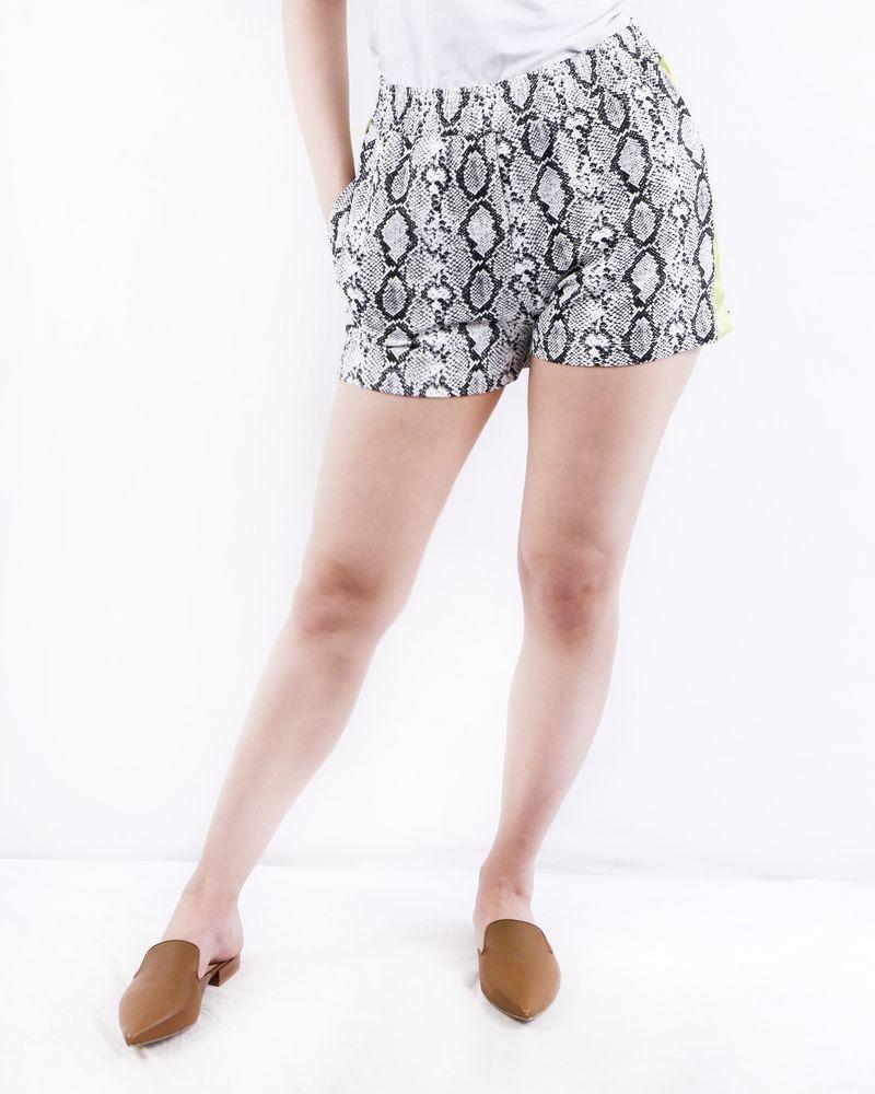 Short en coton blanc à imprimé python Jijil
