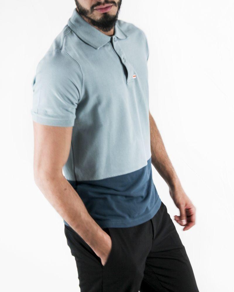 Polo bleu en coton piqué bicolores Swims