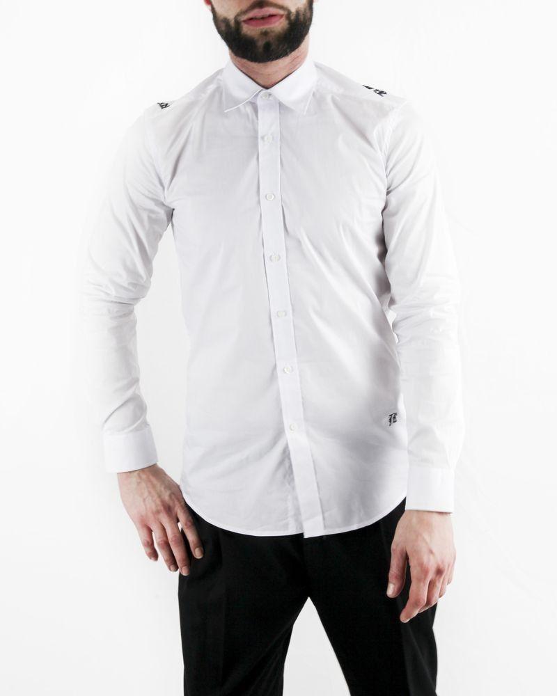 Chemise blanche à motif broderie gothique John Richmond