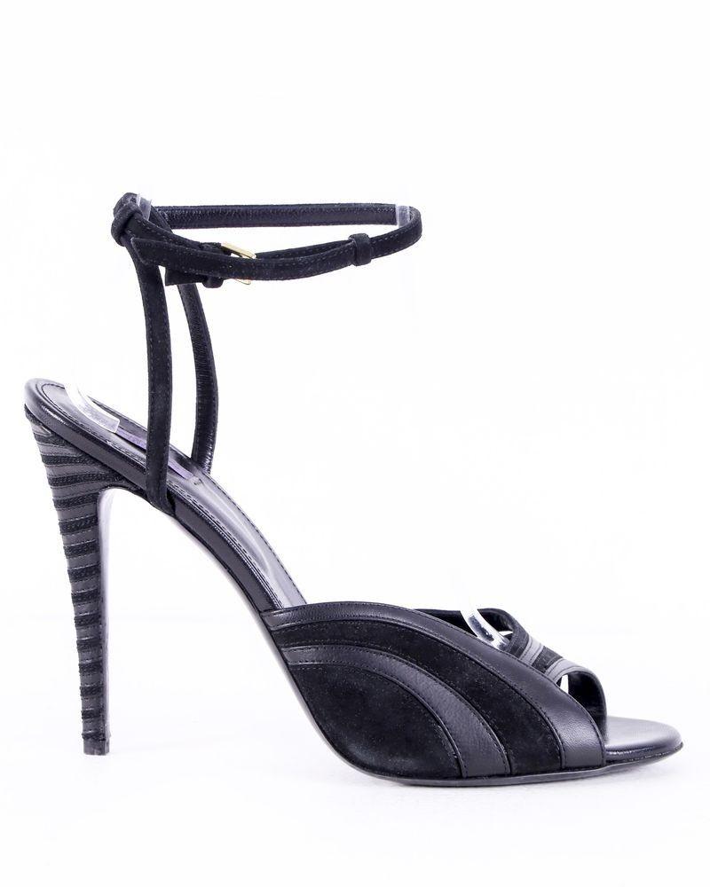 Sandales noires à talons 12 cm Emanuel Ungaro