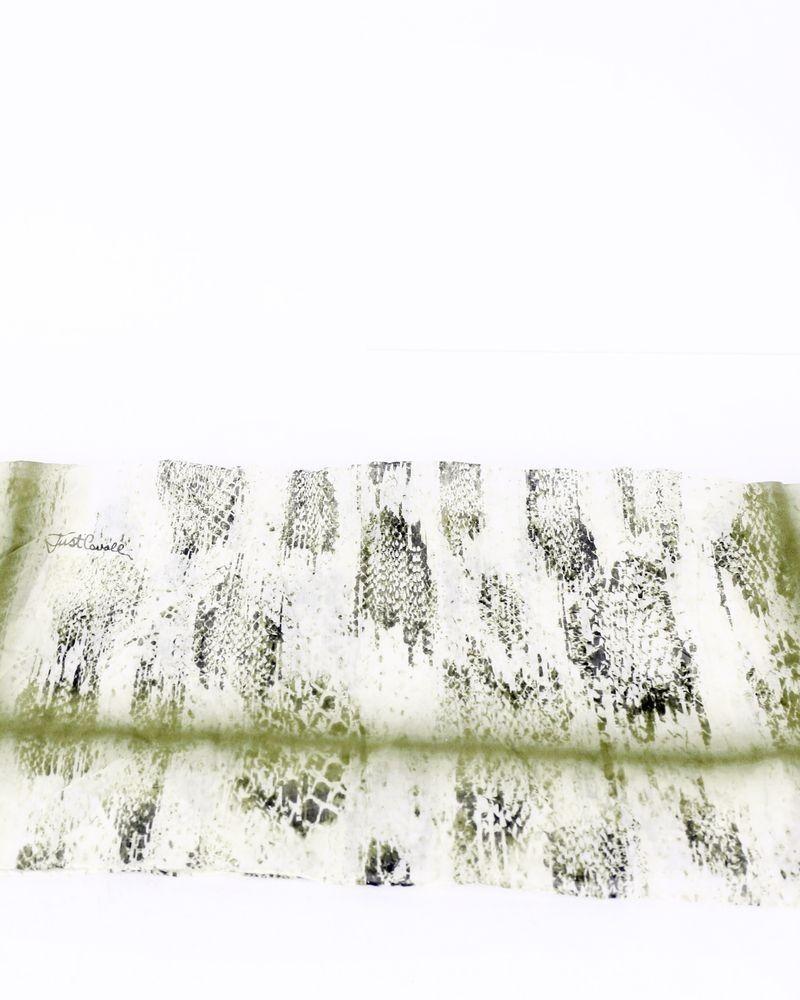 Foulard en coton vert à motifs Roberto Cavalli