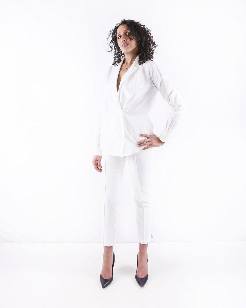 Pantalon fuseau en crêpe blanche Misha
