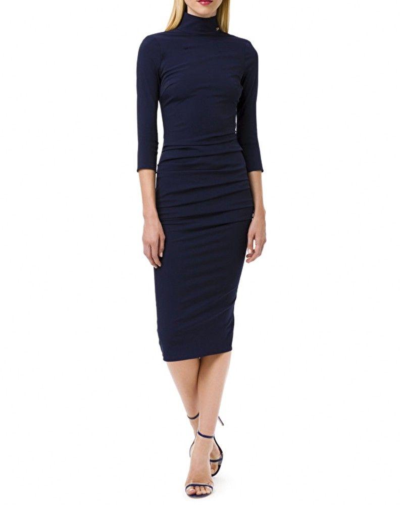 Robe en tissu bi élastique bleu froncé Elisabetta Franchi